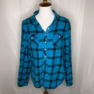 Sundance Blue Plaid Button Up Top